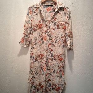 Zara Floral Midi Pijama Style Dress Small